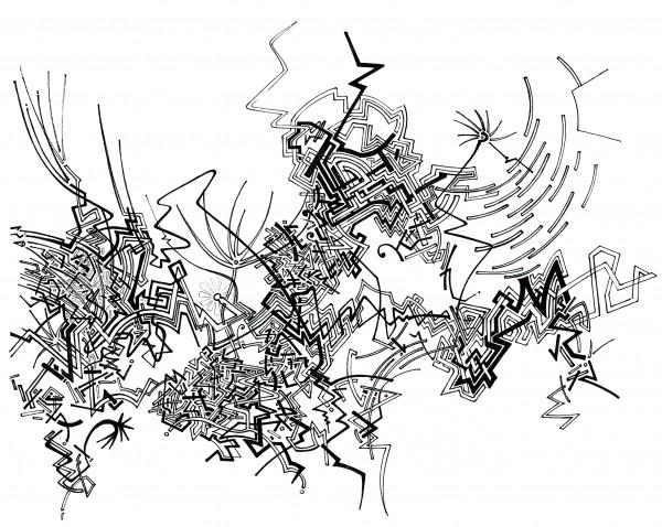 dessin au stylo noir sur papier blanc, non figuratif : traits entremêlés