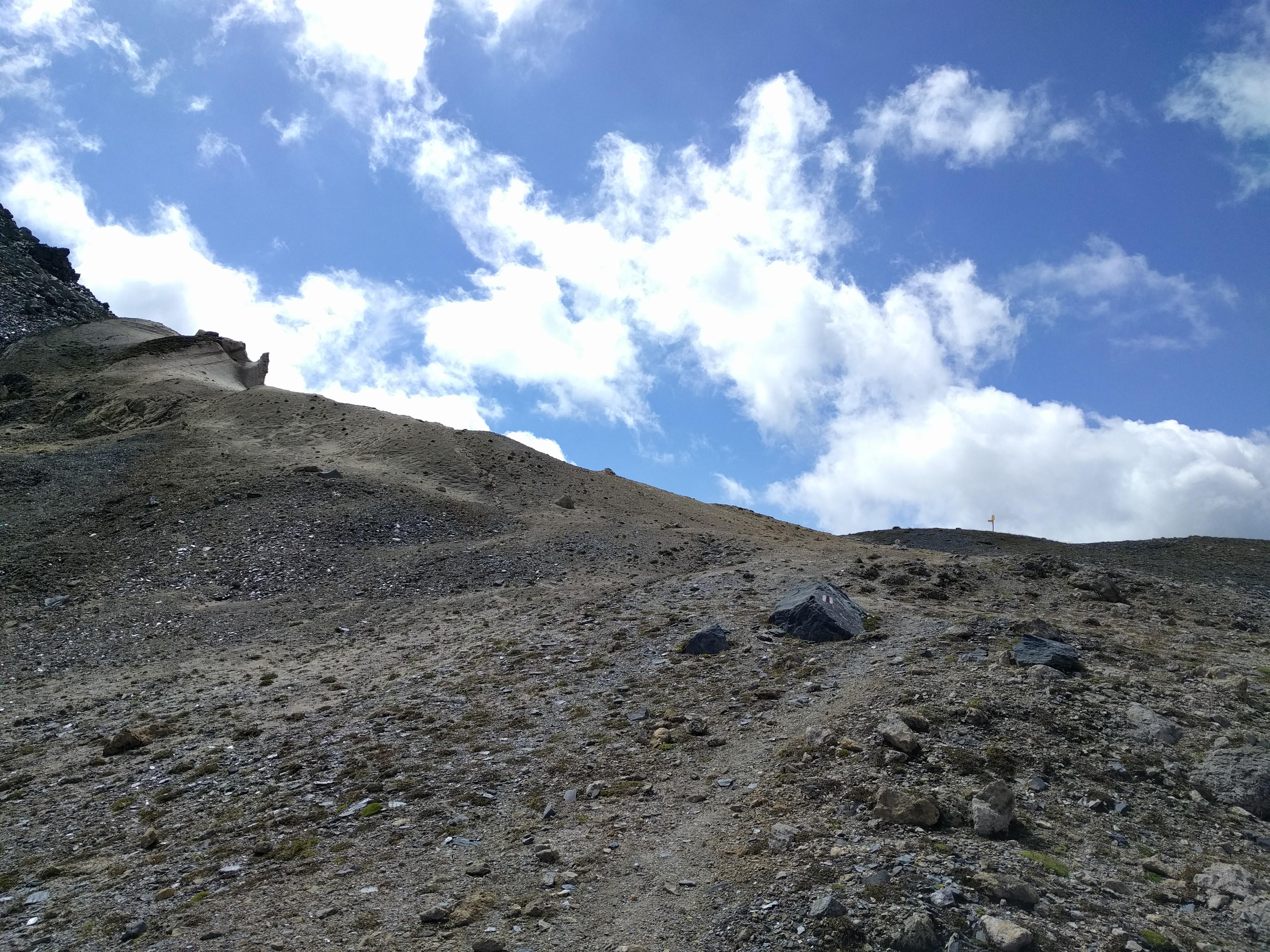 Pierres, chemin, sommet de col