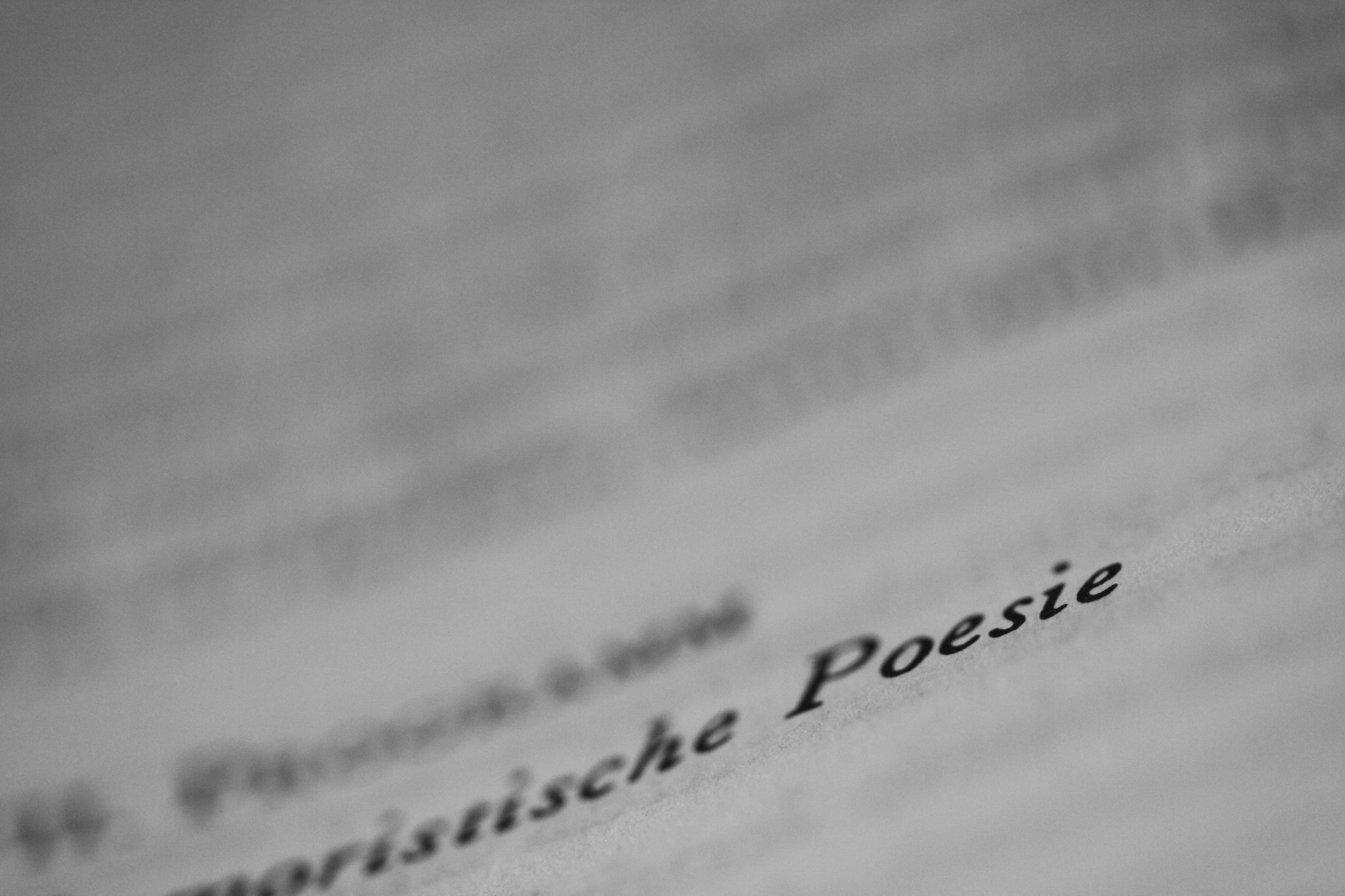 macrophotographie d'une page de livre, le mot poésie est lisible