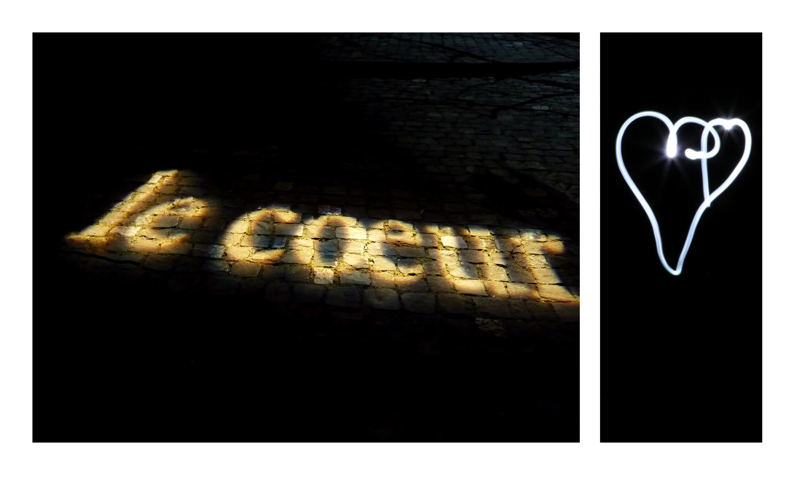 diptyque avec une image représentant le mot coeur photographié de nuit sur des pavés et l'autre un coeur en lightpainting